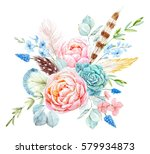 watercolor floral bouquet with  ... | Shutterstock . vector #579934873