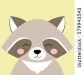 cartoon animal  cute raccoon on ...
