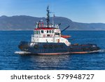 Small photo of Trondheim, Norway - October 17, 2016: Abramis Tug boat with white superstructure underway, side view. Trondheim, Norway