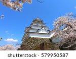 aizuwakamatsu castle and cherry ... | Shutterstock . vector #579950587