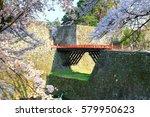 aizuwakamatsu castle and cherry ... | Shutterstock . vector #579950623