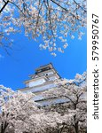 aizuwakamatsu castle and cherry ... | Shutterstock . vector #579950767