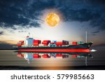 ship with container in the full ... | Shutterstock . vector #579985663