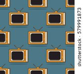 vector pattern of televisions. ... | Shutterstock .eps vector #579991873