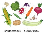 vegetables and herbs fresh... | Shutterstock .eps vector #580001053