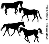 set silhouette of black mustang