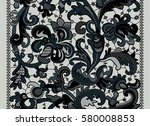 lace ribbons. vertical seamless ... | Shutterstock .eps vector #580008853