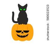 pumpkin and black cat halloween ... | Shutterstock .eps vector #580023523