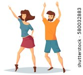 man dancing with woman at disco.... | Shutterstock .eps vector #580032883
