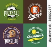 soccer ball badge  basketball... | Shutterstock .eps vector #580032997