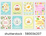 happy easter greeting card... | Shutterstock .eps vector #580036207