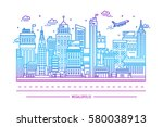 megalopolis  big city life ... | Shutterstock .eps vector #580038913