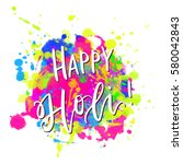 watercolor happy holi and... | Shutterstock .eps vector #580042843