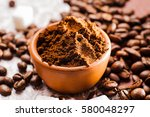 fresh ground coffee beans... | Shutterstock . vector #580048297