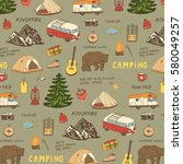 camping objects  trip doodle... | Shutterstock .eps vector #580049257