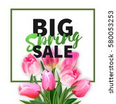 spring sale card with pink... | Shutterstock .eps vector #580053253