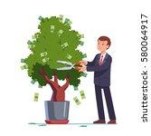 businessman cutting money... | Shutterstock .eps vector #580064917