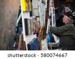 paris  france   march 8  2015 ... | Shutterstock . vector #580074667