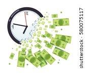 time is money concept. clock... | Shutterstock .eps vector #580075117