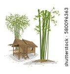 vector illustration  cabin and... | Shutterstock .eps vector #580096363