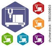 3d printer icons set rhombus in ... | Shutterstock . vector #580100803