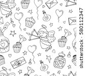 valentine seamless pattern with ... | Shutterstock .eps vector #580112347