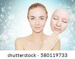 christmas present  woman enjoys ... | Shutterstock . vector #580119733