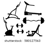 exercise machine. gym equipment ... | Shutterstock .eps vector #580127563