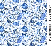 embroidery seamless pattern... | Shutterstock .eps vector #580138597