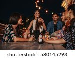 group of happy young people... | Shutterstock . vector #580145293