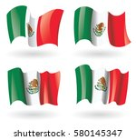 mexico flag waving set | Shutterstock .eps vector #580145347