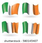 ireland flag waving set   Shutterstock .eps vector #580145407