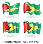 guyana flag waving set | Shutterstock .eps vector #580145593