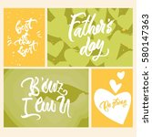 set of 4 greeting cards and... | Shutterstock .eps vector #580147363