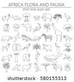 thin line africa flora and... | Shutterstock .eps vector #580155313