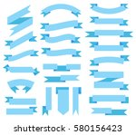 flat vector blue ribbon.... | Shutterstock .eps vector #580156423