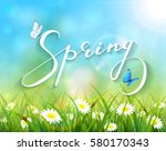lettering spring with sunny... | Shutterstock .eps vector #580170343