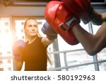 young sportswoman engaged in... | Shutterstock . vector #580192963