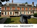Small photo of Yonkers, New York - August 6, 2012: 19th century American Civil War Cannon at the historic Georgian 1682 Philipse Manor