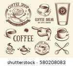 isolated brown color cup in... | Shutterstock .eps vector #580208083