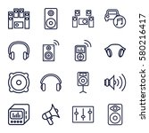 stereo vector icons. set of 16... | Shutterstock .eps vector #580216417