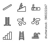 Stair Vector Icons. Set Of 9...