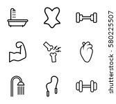 body vector icons. set of 9... | Shutterstock .eps vector #580225507