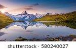 alpine view of the mt.... | Shutterstock . vector #580240027