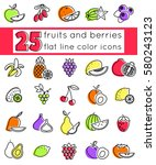 outline icon set fruits and... | Shutterstock .eps vector #580243123
