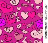 vector seamless handwritten... | Shutterstock .eps vector #580244287