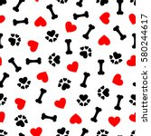 cute seamless pattern with dog... | Shutterstock .eps vector #580244617