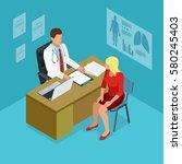 isometric doctor showing... | Shutterstock . vector #580245403