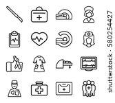 patient vector icons. set of 16 ... | Shutterstock .eps vector #580254427