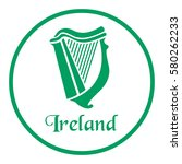 Ireland Emblem With Celtic Harp